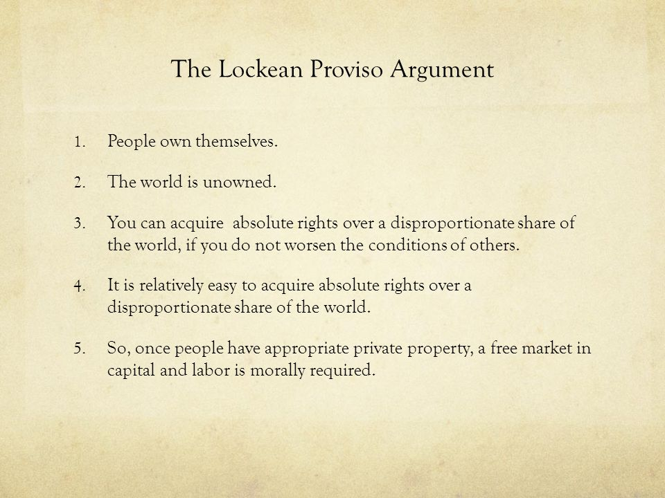 The Lockean Proviso Argument
