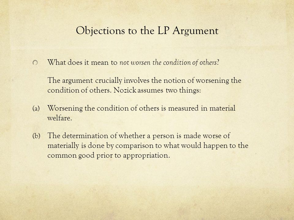 Objections to the LP Argument