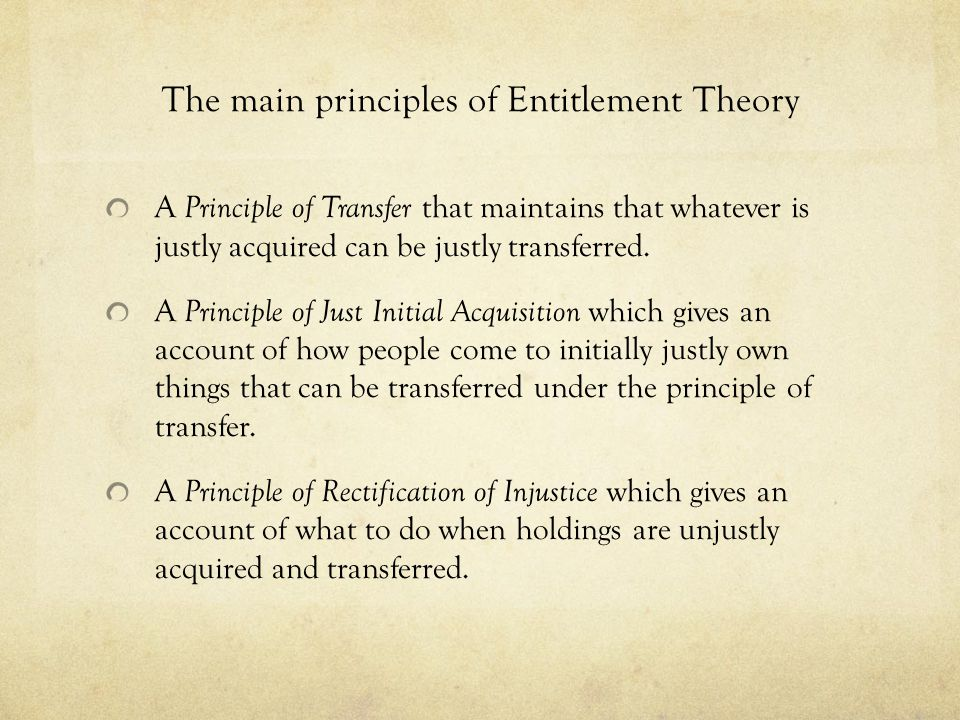 The main principles of Entitlement Theory