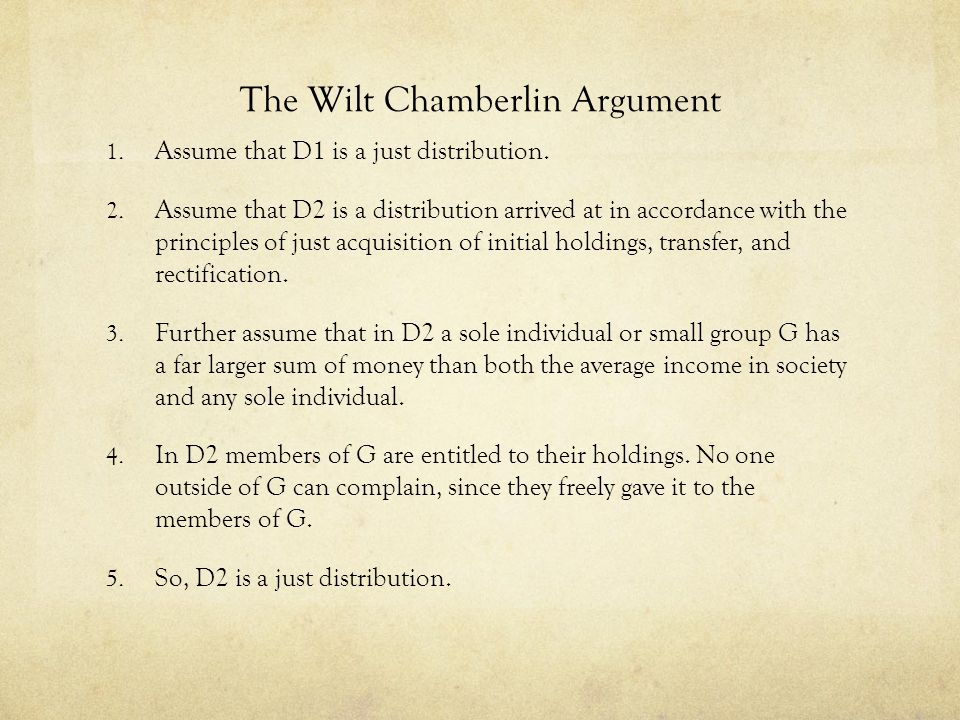 The Wilt Chamberlin Argument