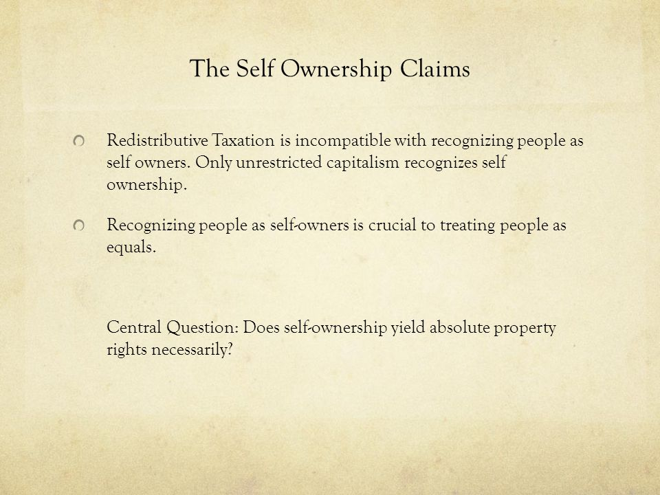 The Self Ownership Claims
