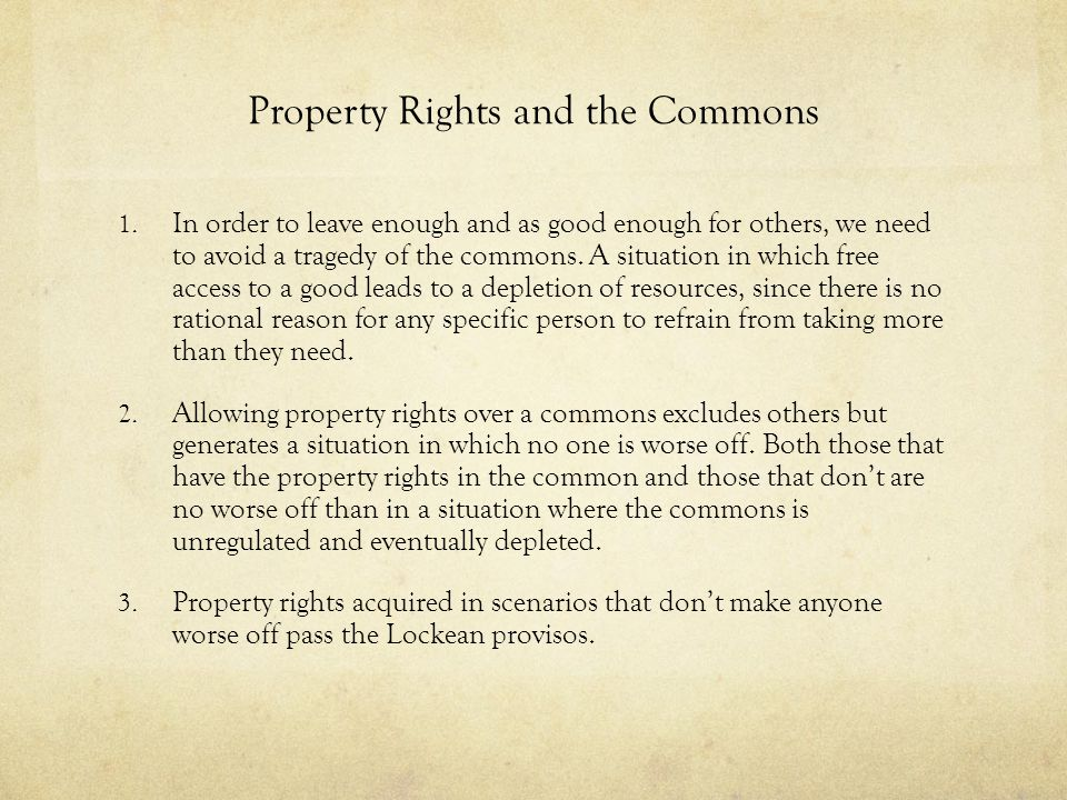 Property Rights and the Commons