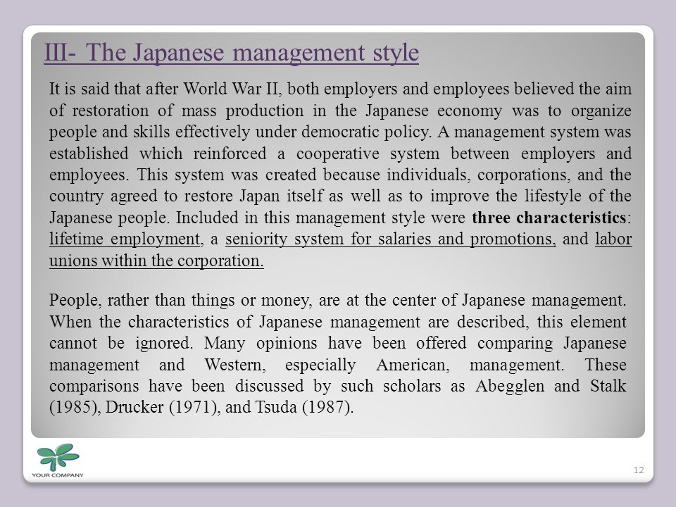 III- The Japanese management style