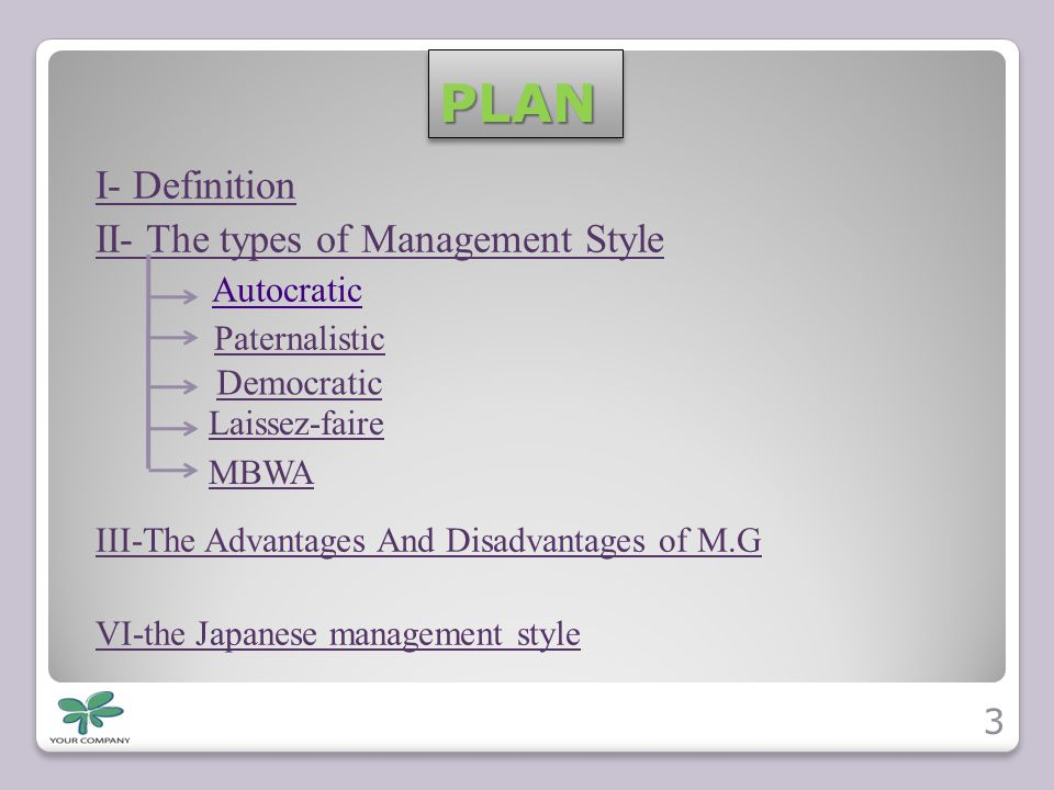 PLAN I- Definition II- The types of Management Style Autocratic