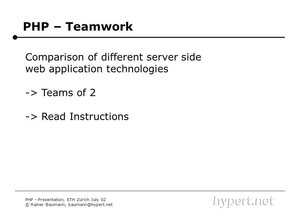 PHP – Teamwork Comparison of different server side