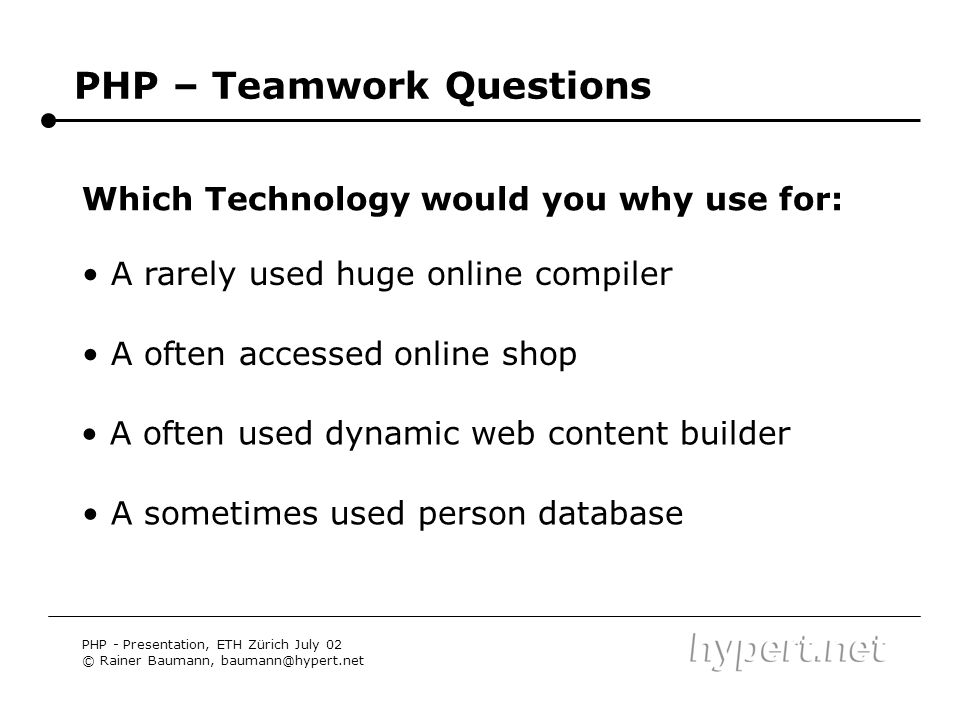 PHP – Teamwork Questions