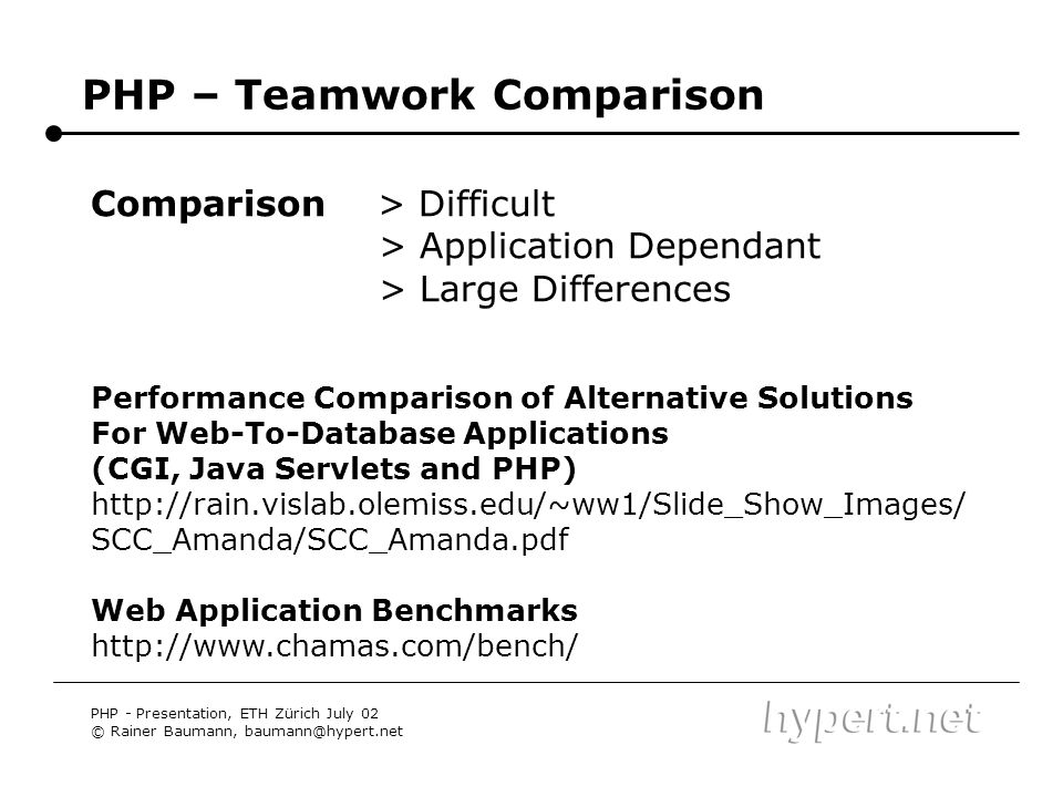 PHP – Teamwork Comparison