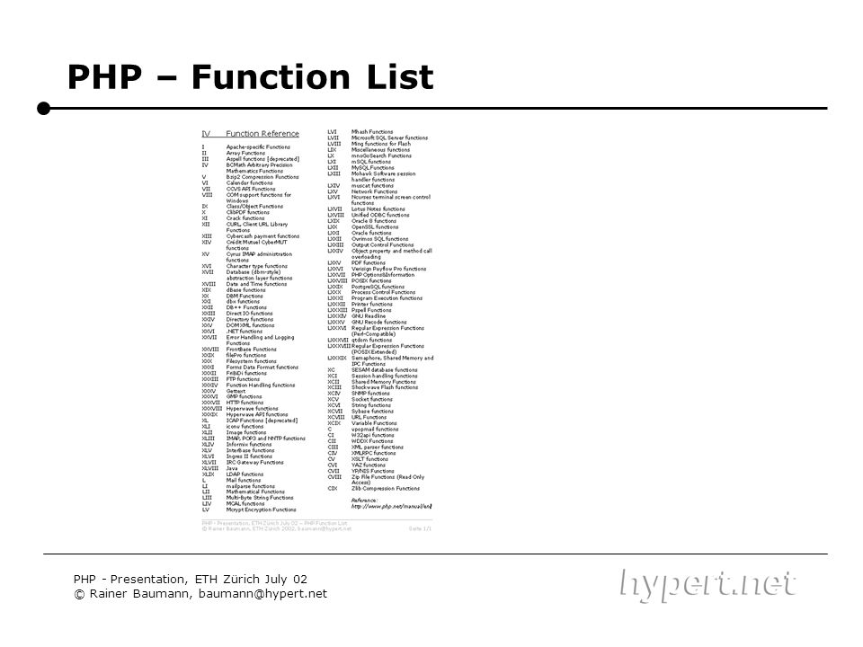 PHP – Function List PHP - Presentation, ETH Zürich July 02