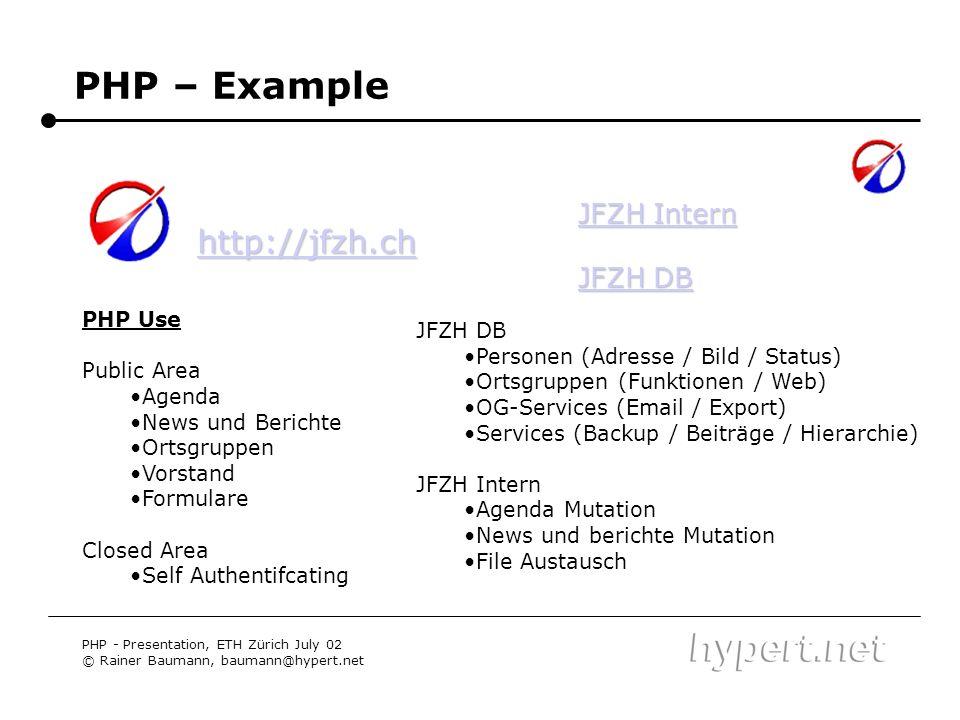 PHP – Example http://jfzh.ch JFZH Intern JFZH DB PHP Use JFZH DB
