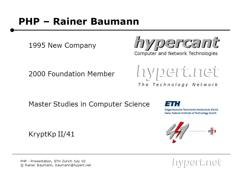 PHP – Rainer Baumann 1995 New Company 2000 Foundation Member