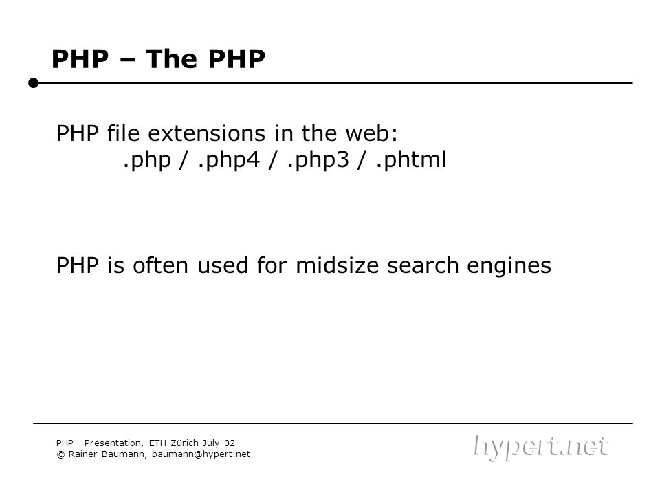 PHP – The PHP PHP file extensions in the web: