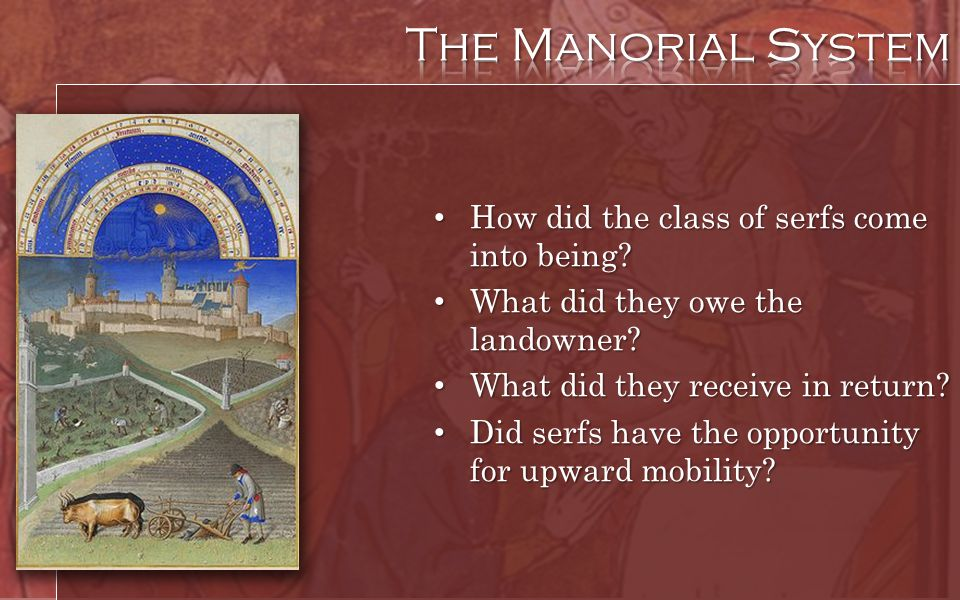 The Manorial System How did the class of serfs come into being