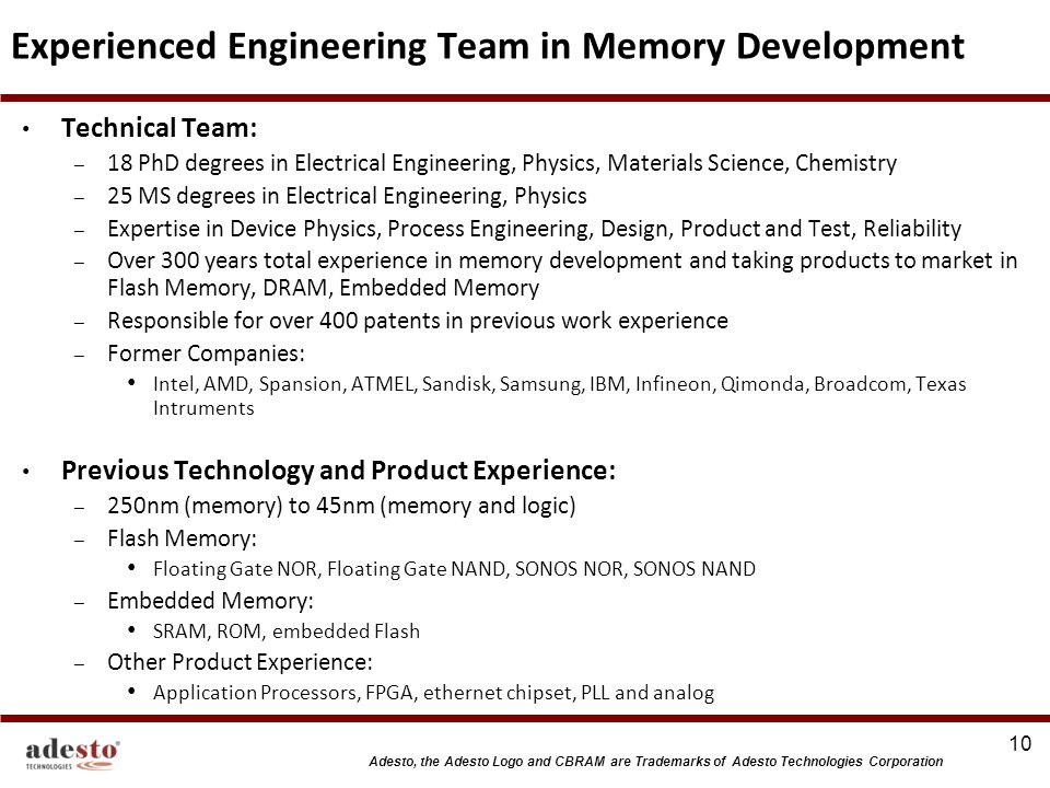 Experienced Engineering Team in Memory Development