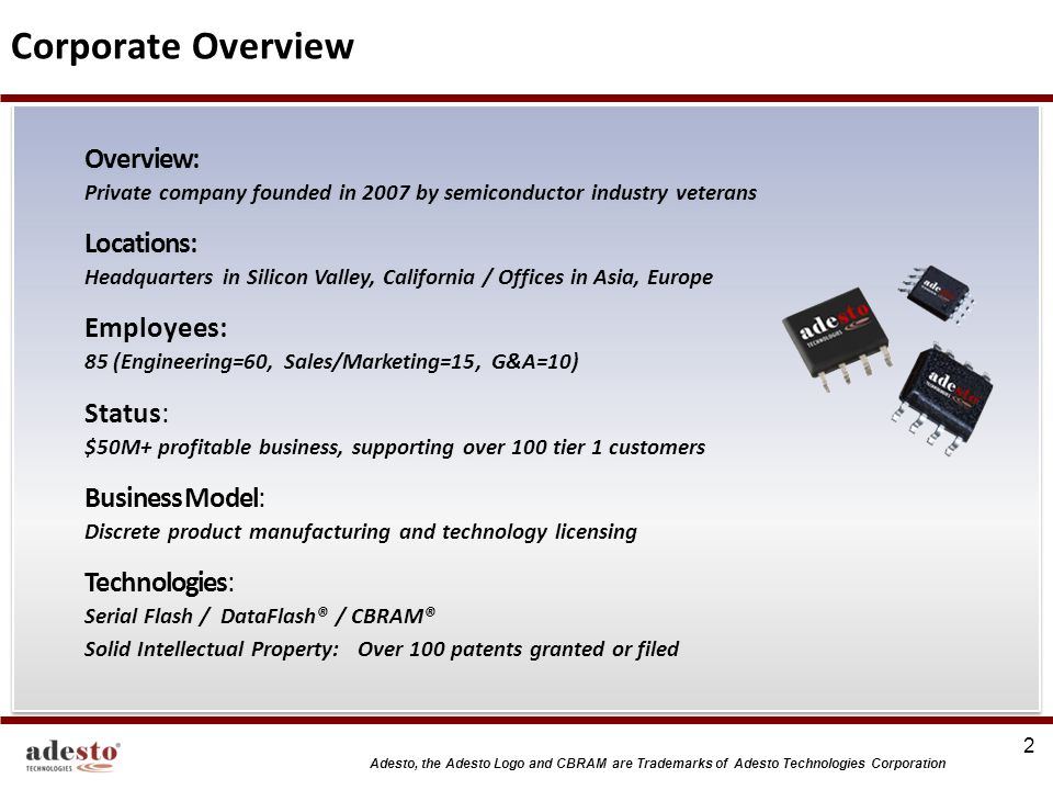 Corporate Overview Overview: Private company founded in 2007 by semiconductor industry veterans.