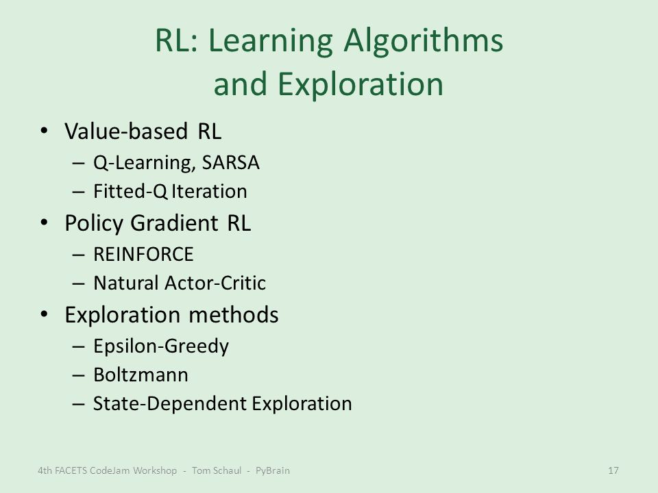 RL: Learning Algorithms and Exploration