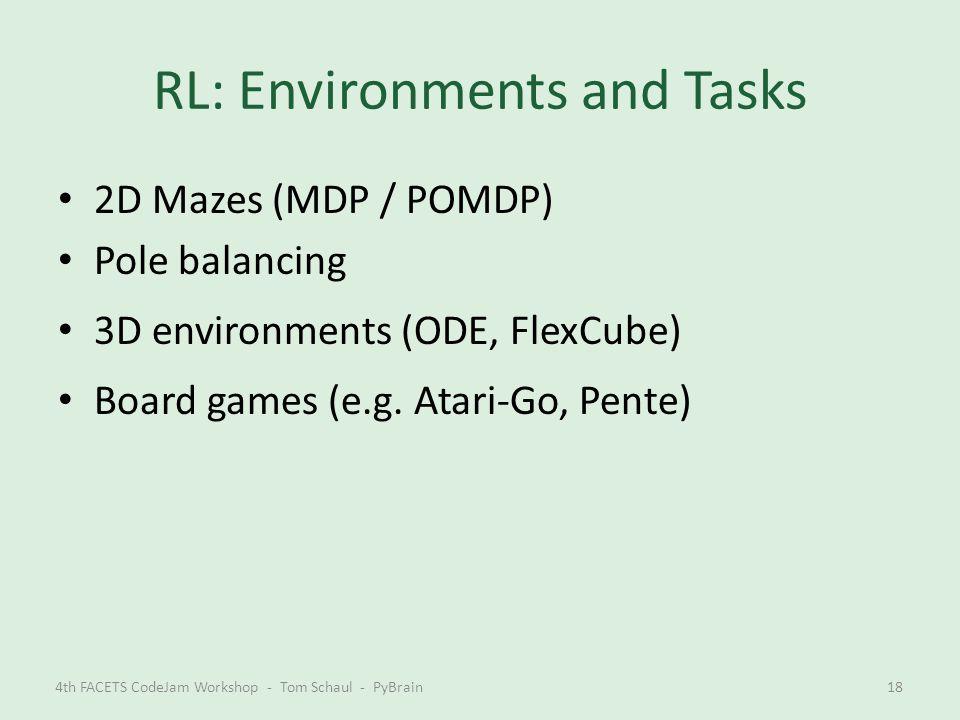 RL: Environments and Tasks