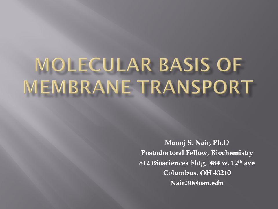Molecular Basis of Membrane Transport