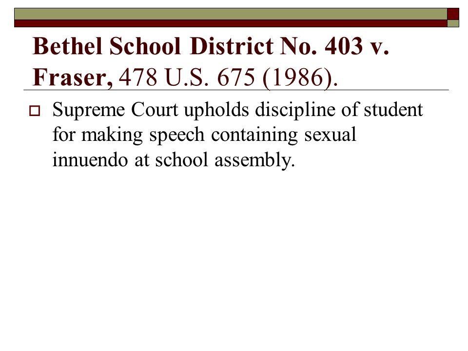 Bethel School District No. 403 v. Fraser, 478 U.S. 675 (1986).