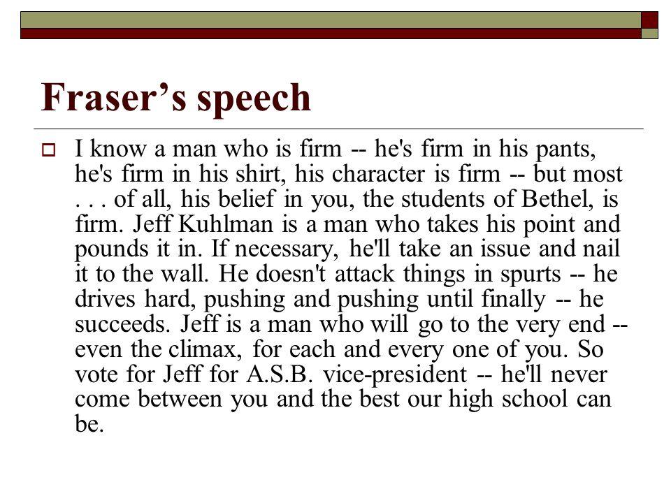 Fraser's speech