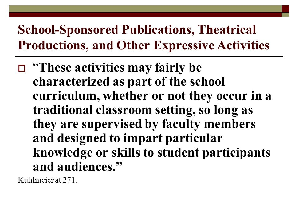 School-Sponsored Publications, Theatrical Productions, and Other Expressive Activities