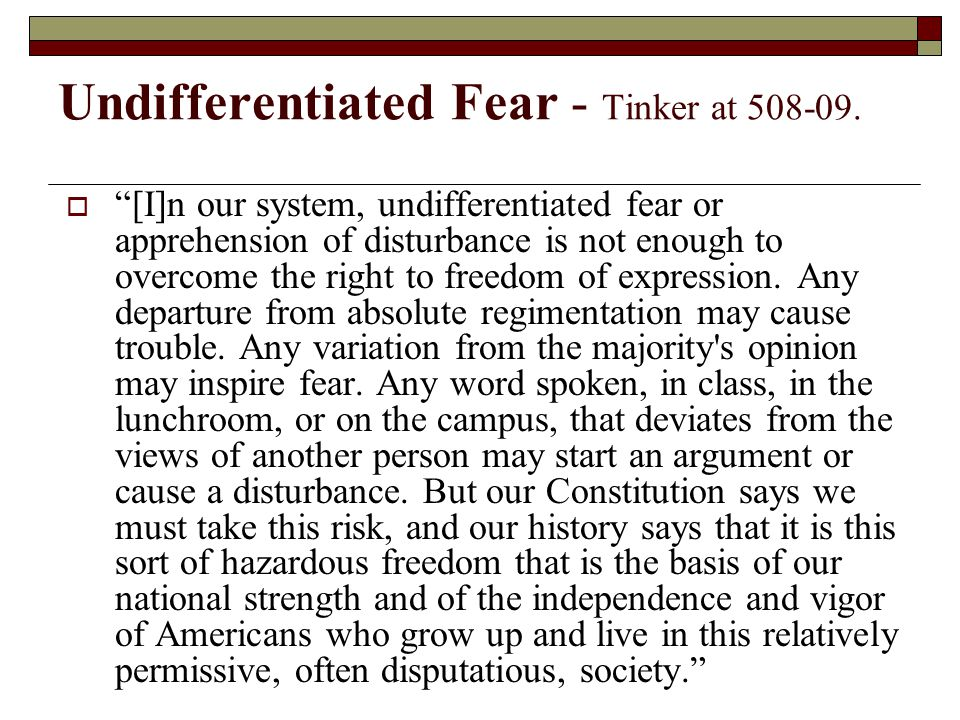 Undifferentiated Fear - Tinker at 508-09.
