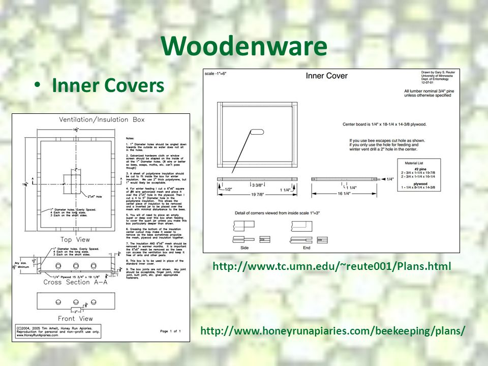 Woodenware Inner Covers http://www.tc.umn.edu/~reute001/Plans.html