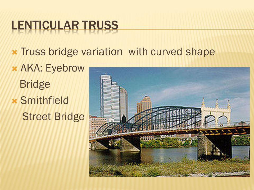 Lenticular truss Truss bridge variation with curved shape AKA: Eyebrow