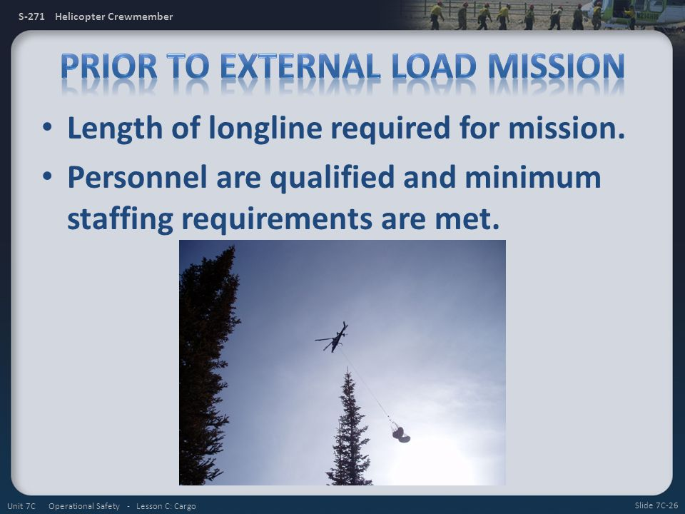 Prior to External Load Mission