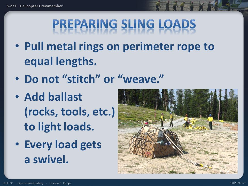 Preparing Sling Loads Pull metal rings on perimeter rope to equal lengths. Do not stitch or weave.