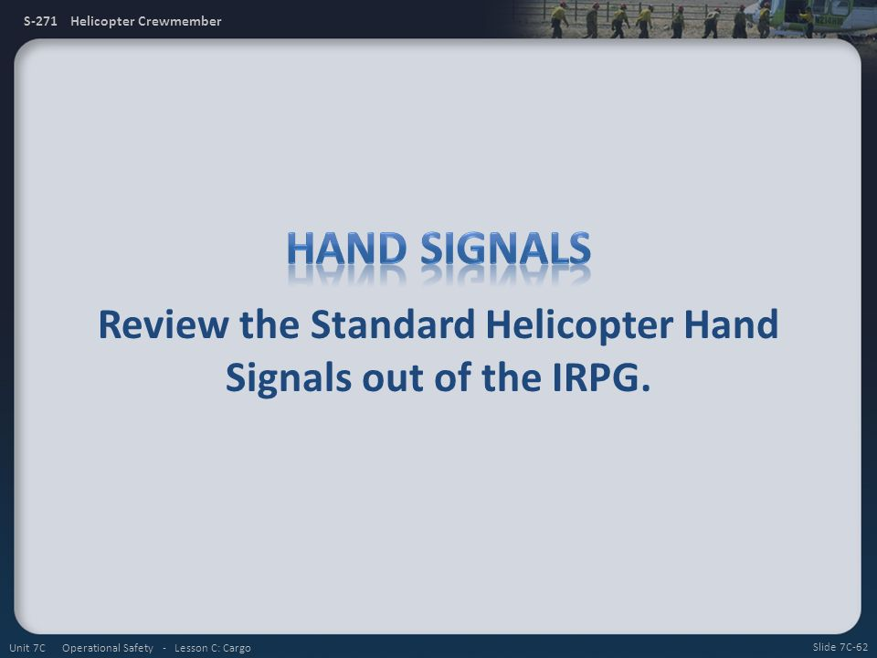 Review the Standard Helicopter Hand Signals out of the IRPG.