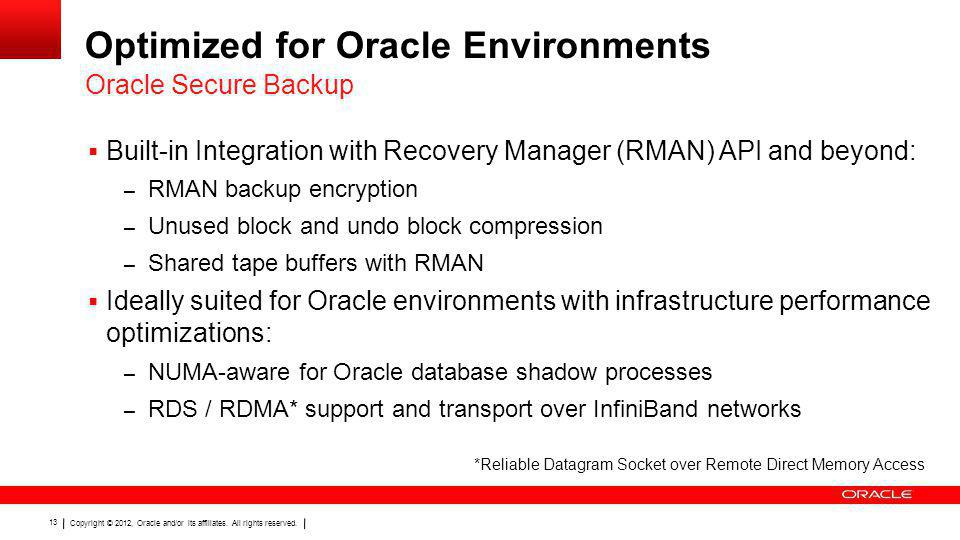 Optimized for Oracle Environments