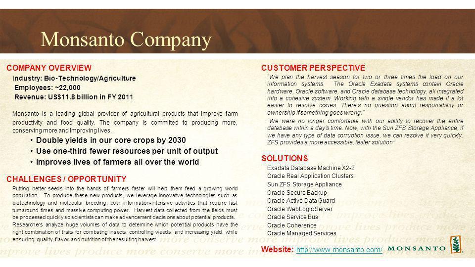 Monsanto Company COMPANY OVERVIEW