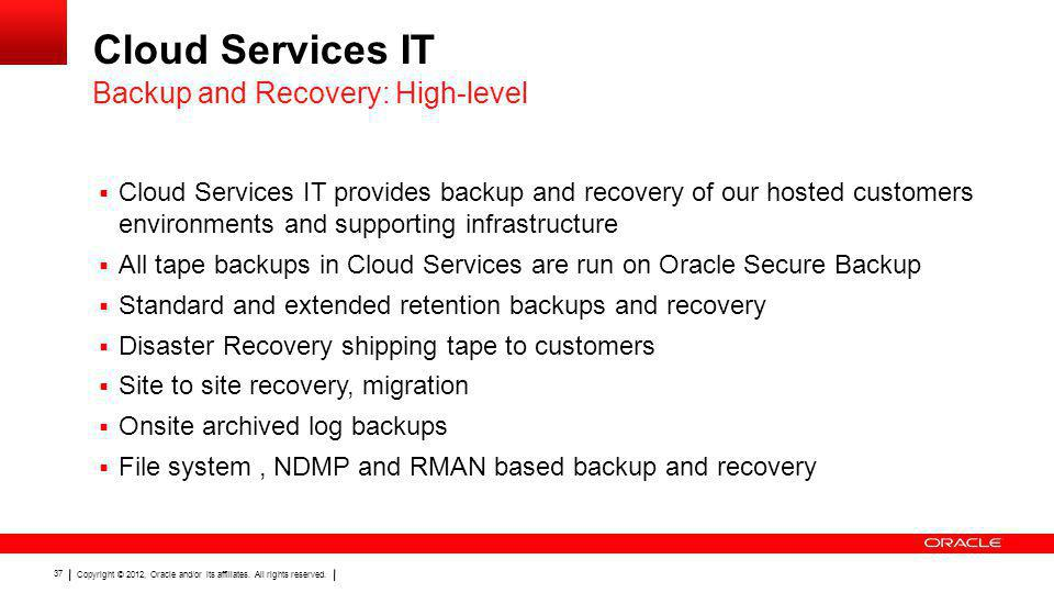 Cloud Services IT Backup and Recovery: High-level