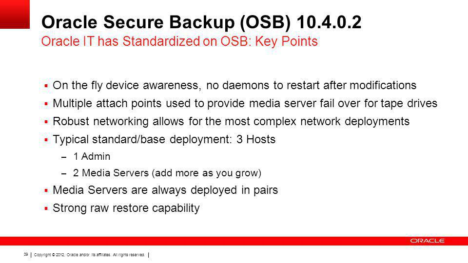 Oracle Secure Backup (OSB) 10.4.0.2
