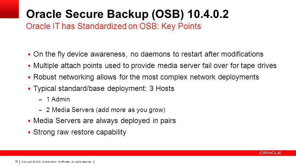 Oracle Secure Backup (OSB) 10.4.0.2