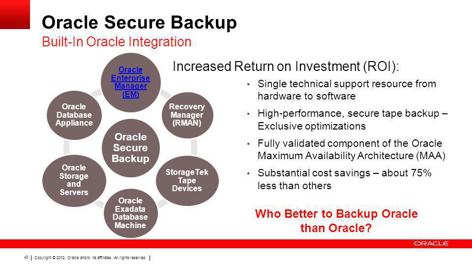 Oracle Secure Backup Built-In Oracle Integration