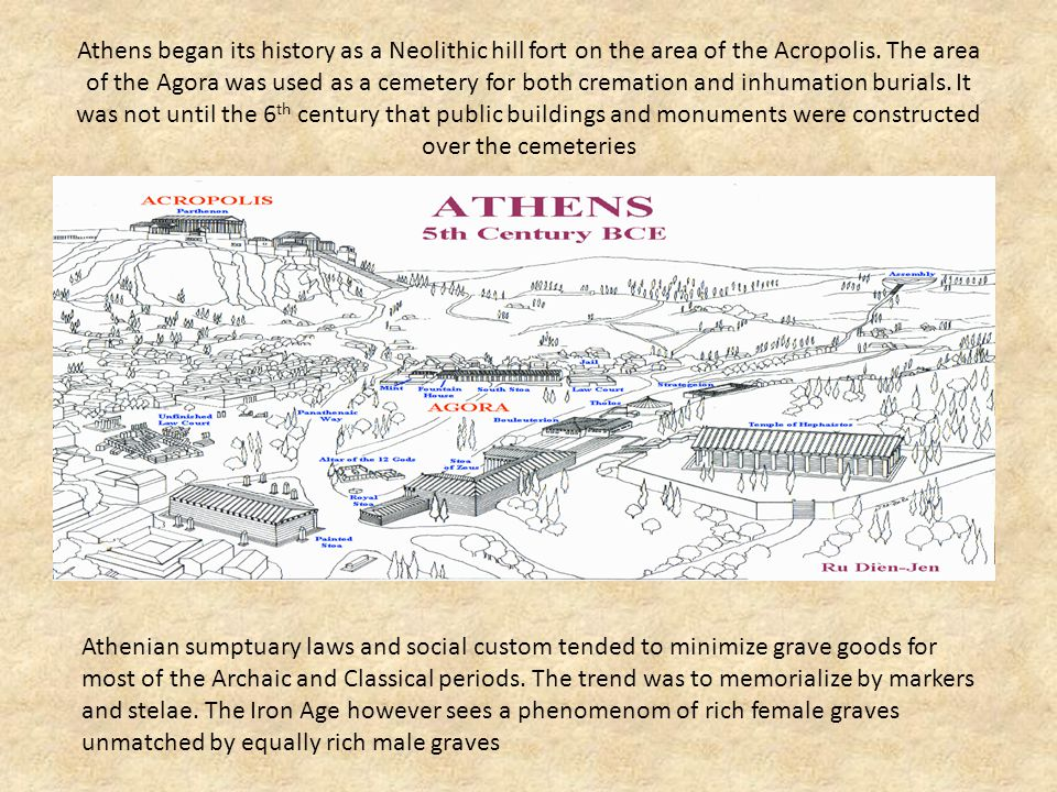 Athens began its history as a Neolithic hill fort on the area of the Acropolis. The area of the Agora was used as a cemetery for both cremation and inhumation burials. It was not until the 6th century that public buildings and monuments were constructed over the cemeteries