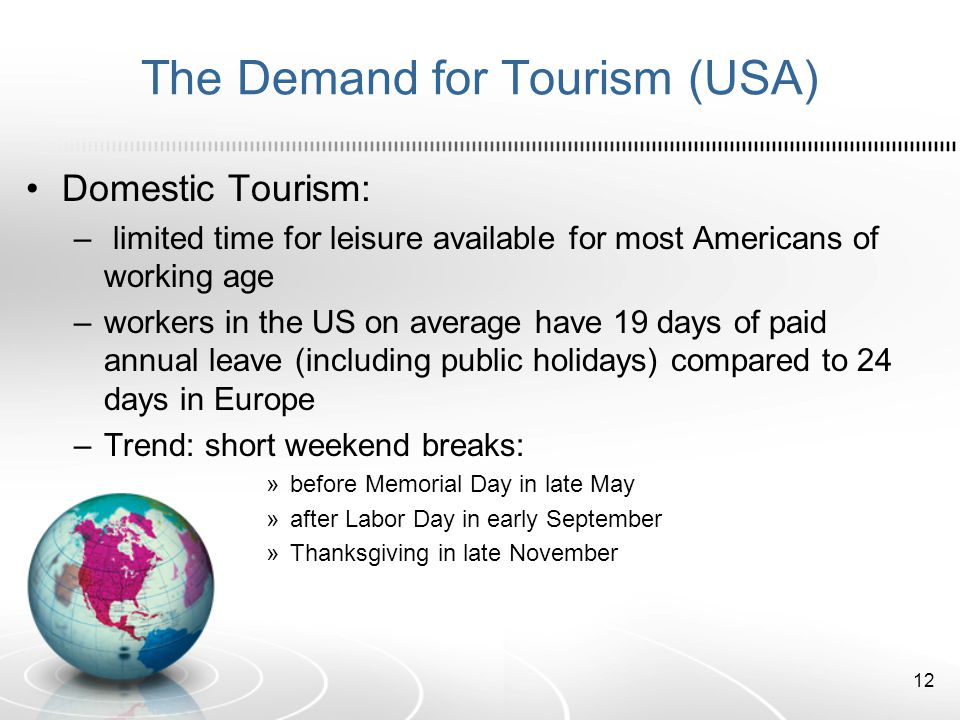 The Demand for Tourism (USA)
