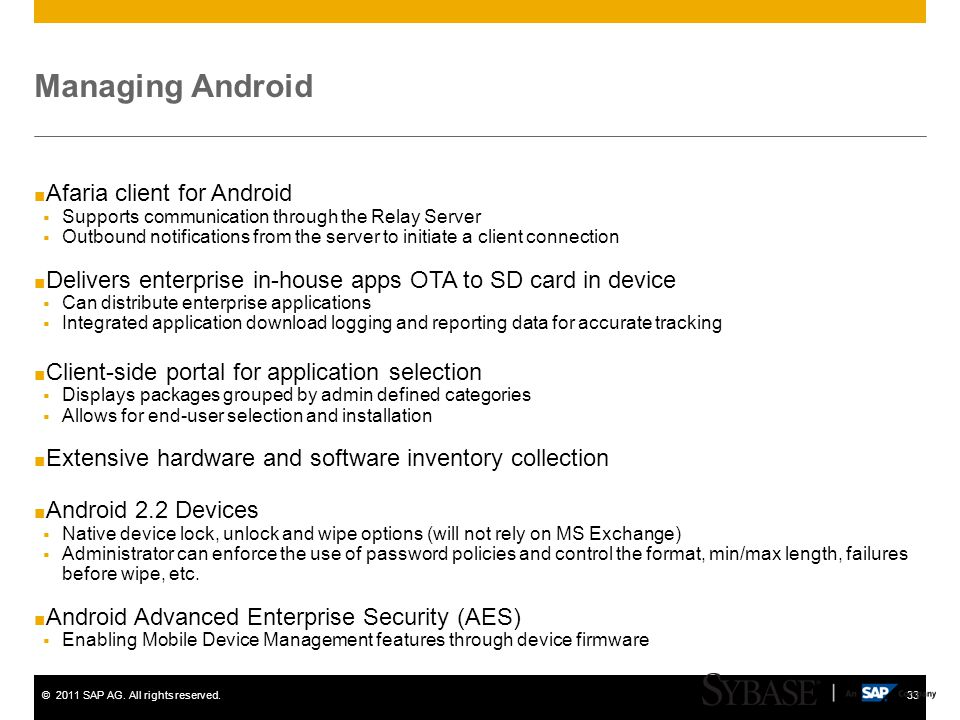 Managing Android Afaria client for Android