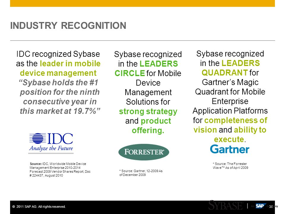 IDC recognized Sybase as the leader in mobile device management