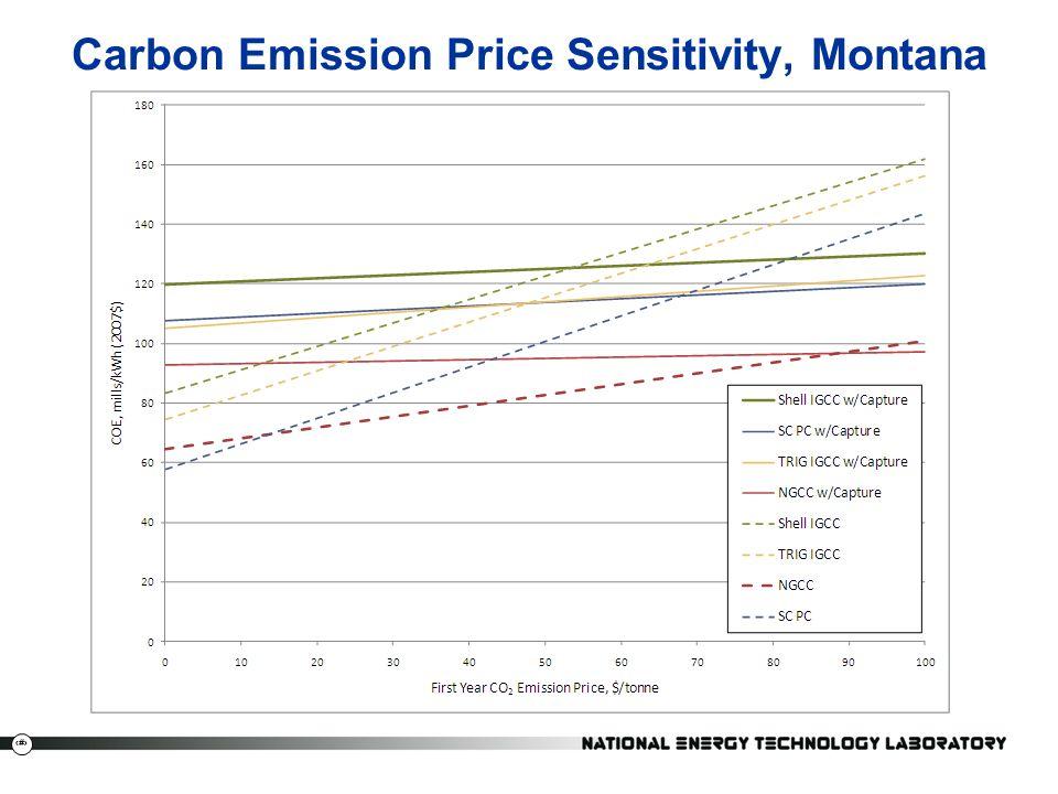 Carbon Emission Price Sensitivity, Montana