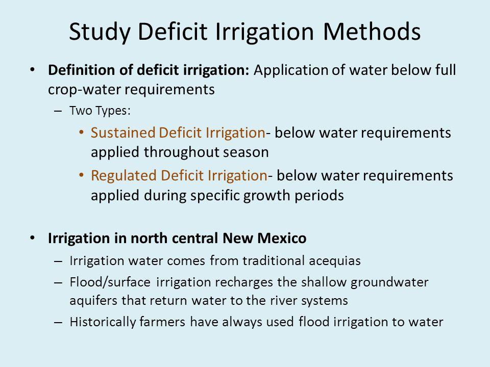 Study Deficit Irrigation Methods
