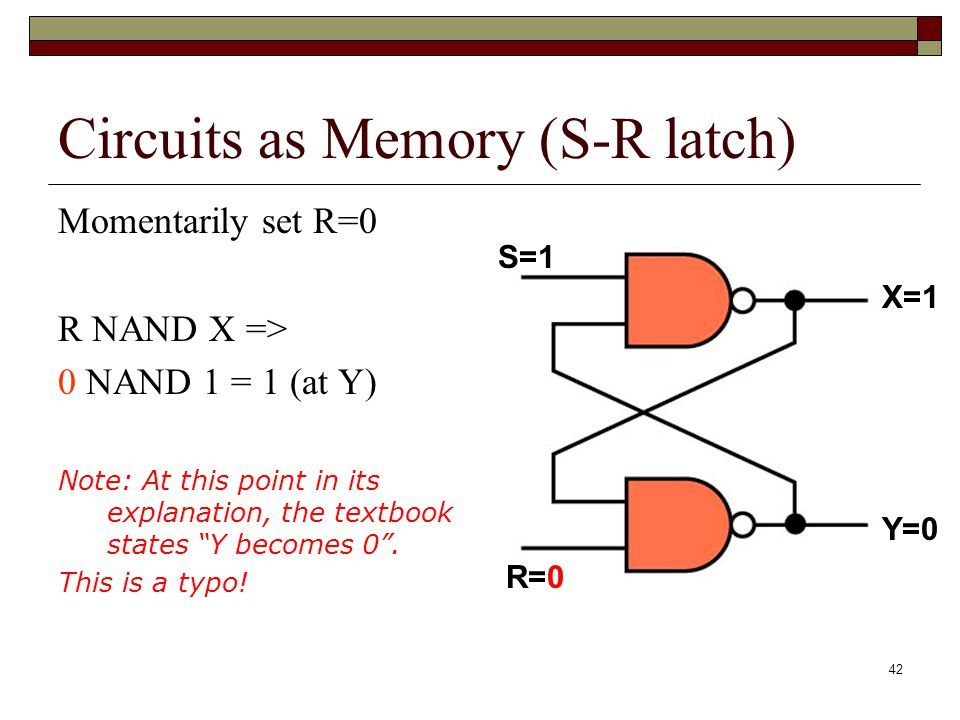 Circuits as Memory (S-R latch)