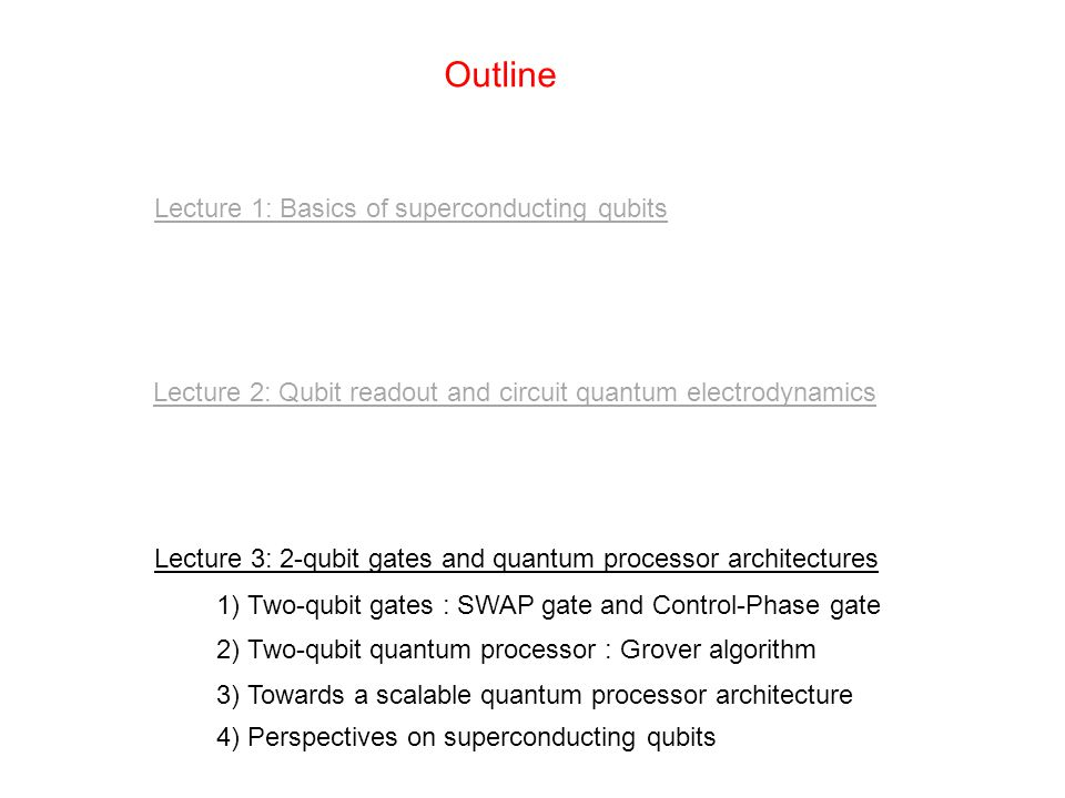 Outline Lecture 1: Basics of superconducting qubits