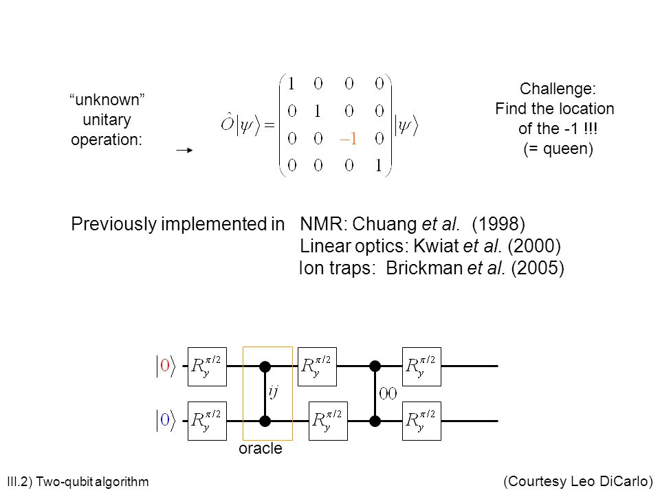 Grover's algorithm Previously implemented in NMR: Chuang et al. (1998)