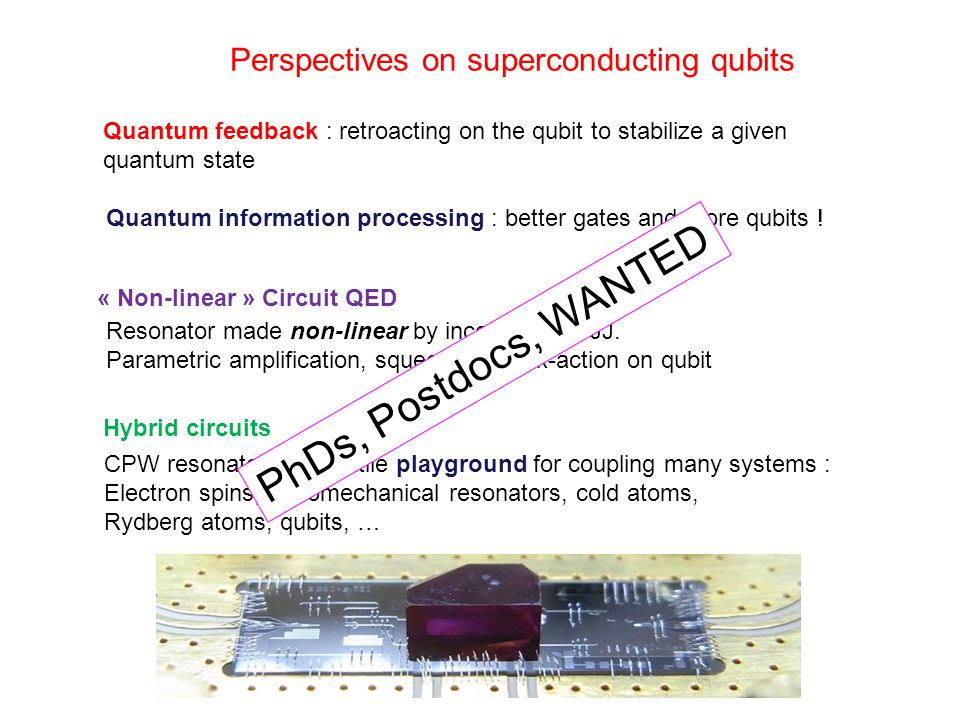 PhDs, Postdocs, WANTED Perspectives on superconducting qubits