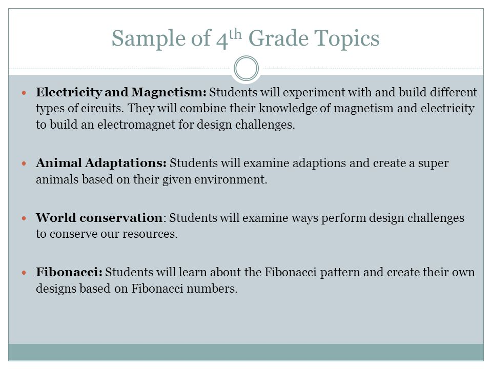 Sample of 4th Grade Topics
