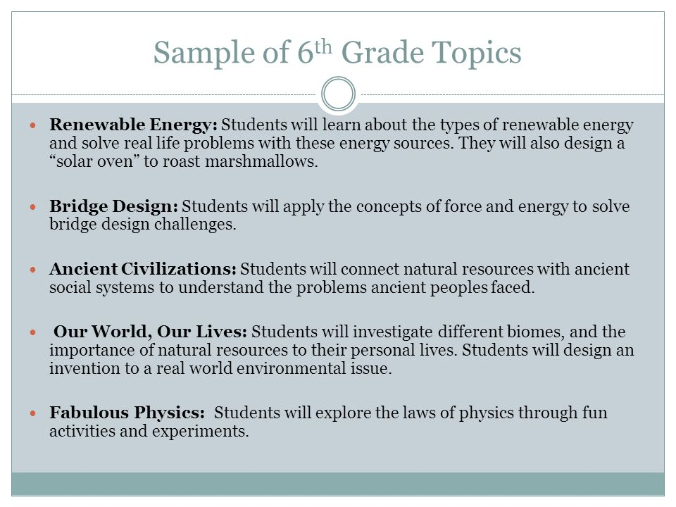 Sample of 6th Grade Topics
