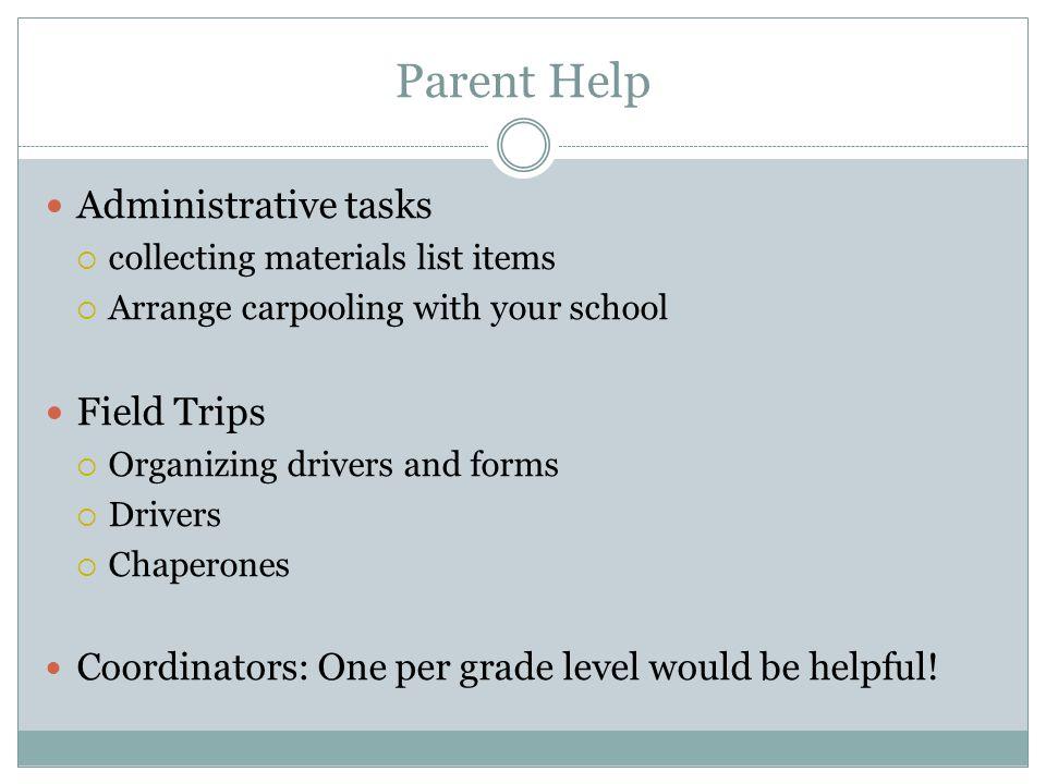 Parent Help Administrative tasks Field Trips