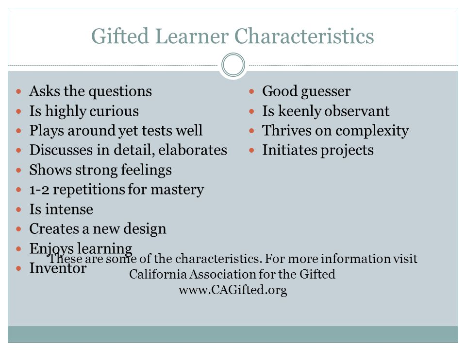 Gifted Learner Characteristics